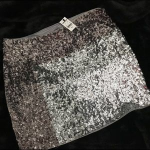 NWT- Express gray color block sequin mini skirt!